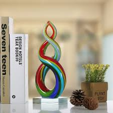 sculpture home decor best and cheap multicolored tooarts colorful ribbon glass