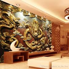 Chinese Home Decor Custom 3d Wallpaper Wood Carving Dragon Photo Wallpaper Chinese