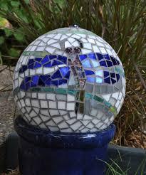 Garden Gazing Globe Handmade Mosaic Garden Gazing Ball Dragonfly By Mid Century