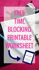 free time blocking printable worksheet time management printable