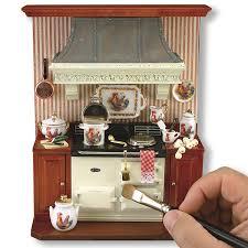 miniature dollhouse kitchen furniture aga kitchen stove wall display