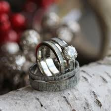 Antler Wedding Rings by We See It All The Time The Girly Falls For The Outdoorsy