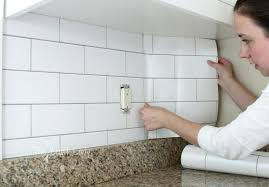 grout kitchen backsplash white subway tile temporary backsplash the tutorial tiles diy