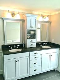 double sink vanity with middle tower double vanity with center tower bathroom vanity with tower bathroom