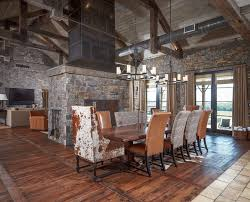 cowhide dining chairs living room rustic with wood floor tree