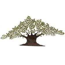 grotesque tree of life metal wall art decor sculpture with green