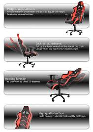 Rocking Gaming Chair Akracing Player Gaming Chair Red