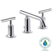 kohler purist 8 in widespread 2 handle low arc bathroom faucet in