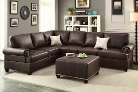 bobkona hungtinton microfiber faux leather 3 piece sectional sofa