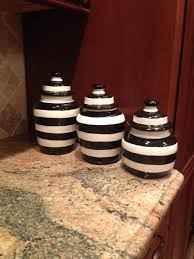 red kitchen canister set ceramic clay pottery black and white striped canister set for