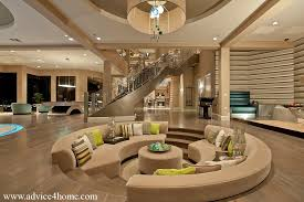 brown wall and round sofa design in modern living room with modern