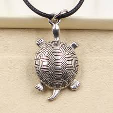tibetan silver pendant necklace images Tibetan silver turtle necklace with black leather cord cute jpg