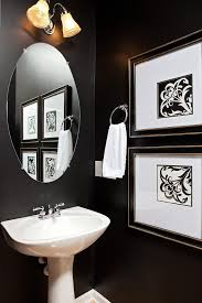 Powder Room Towels - silver and black powder room traditional with framed art