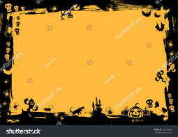 halloween logo black background black border yellow background halloween stock vector 106034069