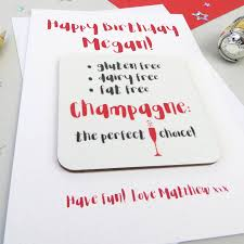 funny champagne diet birthday card and coaster by wink design