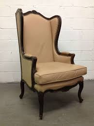 Beige Wingback Chair French Leather Wingback Chair With Brass Stud Trim For Sale At 1stdibs