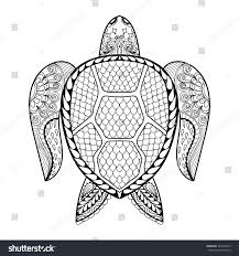 hand drawn sea turtle mascot stock vector 364183325