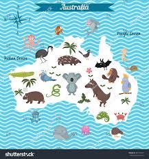 cartoon map australia continent different animals stock vector