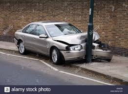 volvo s80 car volvo s80 d5 which has crashed into a lamp post uk stock photo
