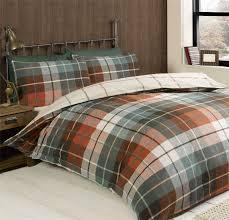 Duvet Quilt Cover Lomond Check 100 Brushed Cotton Flannelette Duvet Quilt Cover Set