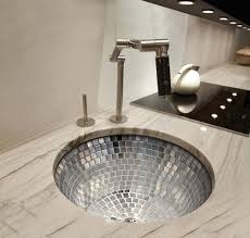 Linkasink Round Kitchen Sink With Stainless Steel Mosaic Tile - Round sinks kitchen