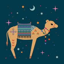 carly watts illustration big eyes camel christmas cute