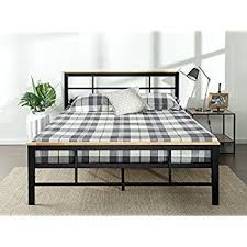 amazon com zinus urban metal and wood platform bed with wood slat