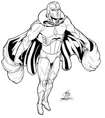 marvel avenger vision coloring pages lineart hero detailed