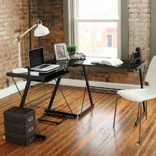 Black Glass L Shaped Computer Desk Furniture Cool Walker Edison Desk Creative Edison Desk