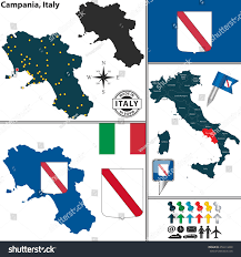 Campania Italy Map by Vector Map Region Campania Coat Arms Stock Vector 250414468