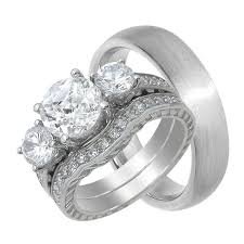 Wedding Ring Sets For Her by His And Hers Wedding Rings Sterling Silver Titanium Stainless