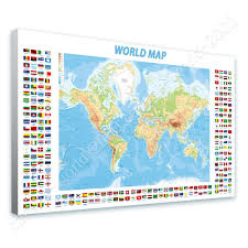 World Map Posters by Canvas Gift Physical Modern Flags World Map Paintings Wall Art