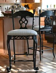 Black And White Kitchen Chairs - transform kitchen chairs with spray paint and a little fabric