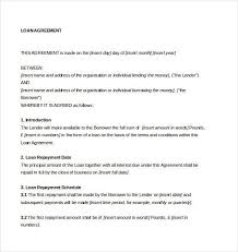 loan agreement template uk agreement loan contract loan agreement