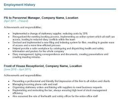 Employment History On Resume How To Write Your Cv U0027s Employment History Section With Examples