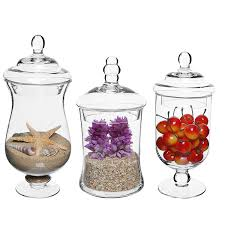 Clear Plastic Kitchen Canisters Amazon Com Set Of 3 Small Clear Glass Storage U0026 Display Canisters