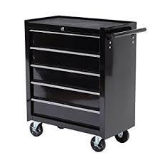 rolling tool storage cabinets amazon com homcom 24 rolling tool cabinet garage cart with 5