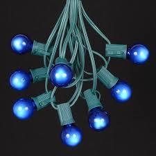 Outdoor Blue Lights Blue Satin G30 Globe Outdoor String Light Set On Green Wire
