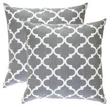 trellis design decorative cushion covers 2 pack graphite grey
