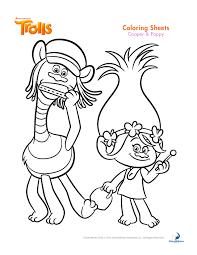 Les trolls cooper et poppy  Coloriage Les Trolls  Coloriages pour