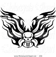 transportation clipart of a black and white flaming skull