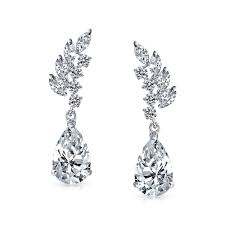 tear drop earrings cz marquise leaves pippa middleton inspired teardrop earrings