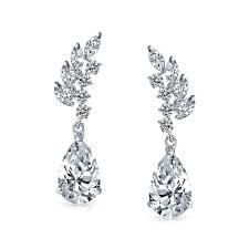teardrop earrings cz marquise leaves pippa middleton inspired teardrop earrings