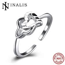 sted rings inalis minimalist fashion adjustable open silver rings heart