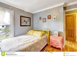 simple bedroom with light blue walls stock photo image 45737065