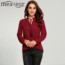 button blouses meaneor chiffon sleeve lace up collar blouses shirts