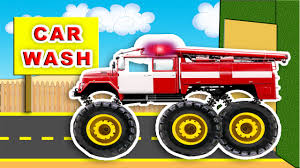 kids monster truck video fire truck car wash garage monster fire trucks monster