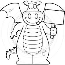 cartoon dragon holding sign black and white line art by cory
