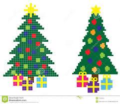 hi res 8 bit christmas trees with stars and gift boxes totally