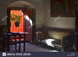 interior of spanish colonial style room at santa catalina convent